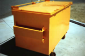 Steel Waste Skip. Primed with METALFIX 1000 and top-coated with yellow gloss KINGCOAT.