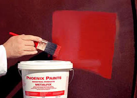 3. Apply two coats of METALFIX (by brush, spray or roller). Wash equipment in water. Top coat if required when cured.