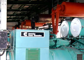 Exhaust system on seven large power plants in Borneo painted with METALFIX.
