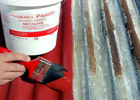 METALFIX may be used for a large number of applications including rusted beams, columns, windows and door lintels, etc. Enormous savings on sand blasting can be made by painting items with METALFIX, after which they can be transported to site and top coated later.  Rusted roofs are a perfect example of a problem that METALFIX can solve. Any small holes are sealed by the paint, and the etching action of METALFIX means that it bonds onto galvanized surfaces with no problems.