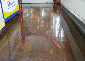 DIAMONDCOAT shown on supermarket timber floor.