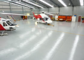 Aircraft hangar floor painted with MAXICOAT