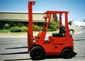 Forklift truck sprayed in pillar box red KINGCOAT, previously primed with METALFIX 1000.
