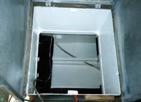 View of chain locker box in ocean-going trawler, primed with METALFIX 1000 and top-coated with white gloss KINGCOAT.