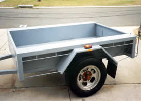 Box trailer top-coated with light grey KINGCOAT.