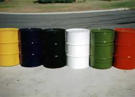 The list of uses for the KINGCOAT high gloss enamels is virtually endless, from these resprayed 200 litre drums, to garden gates, wheelbarrows, and so on.