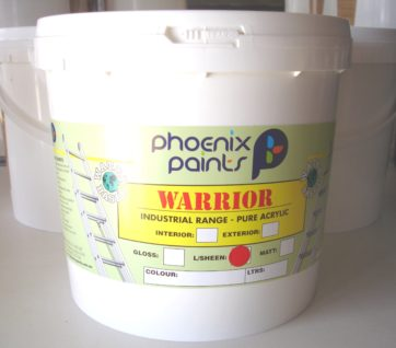 An external or internal paint that is weather and moisture resistant